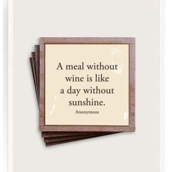 A Meal Without Wine Copper & Glass Coasters, Set of 4