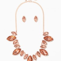 Faceted Marquise Stone Bib Necklace Set | Charming Charlie