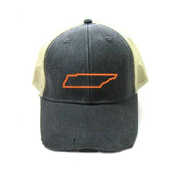 Tennessee Hat - Distressed Snapback Trucker Hat - Tennessee State Outline - Many Colors Available