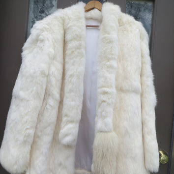 Vintage 80s  White Genuine Rabbit Fur Coat / Jacket  with attached  fox tails tie scarf   sz med