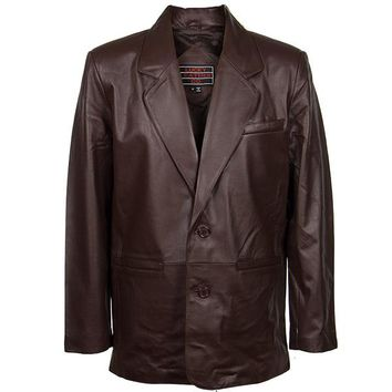Men's 2 Button Classic Brown Leather Blazer