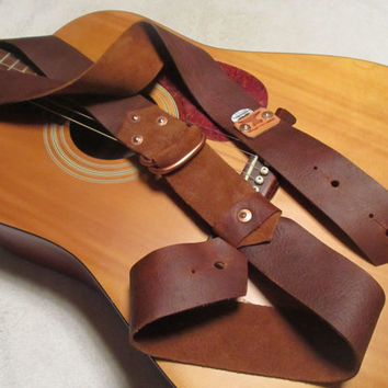 Oil-tanned Leather Guitar Strap w/ pick holder Rust color . Monogram available. Priority shipping.