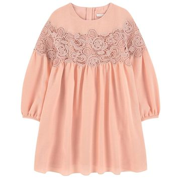 Chloe Girls Pink Crepe/Waffle Dress (Mini-Me)