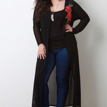 Semi-Sheer Mesh Floral Applique Long Line Cardigan | UrbanOG