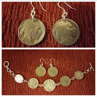 Vintage Standing Liberty Coin Bracelet with Matching Buffalo Nickel Earrings