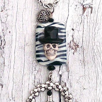 Top Hat Skull Necklace Zebra Print Pendant Peace Sign NeCkLaCe Swarovski Crystal Antique Silver