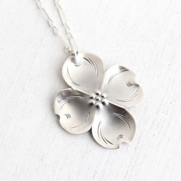 Vintage Sterling Silver Dogwood Flower Necklace - Retro Hallmarked Stuart Nye Floral Statement Pendant Jewelry