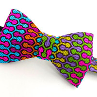 Self Tie Bow Tie - Mens Geometric Bowtie - Funky & Colourful - Handmade in England - 'Wishbone'