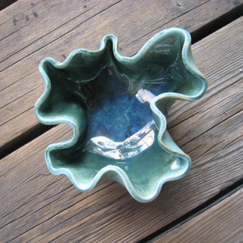 Blue Wave Bowl - Ceramics and Pottery - Outdoor Decor - Jewelry Storage - Functional Art