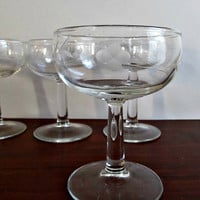 Vintage Etched Champagne Glasses - Set of Four - Wedding, Anniversary, Holiday Entertaining