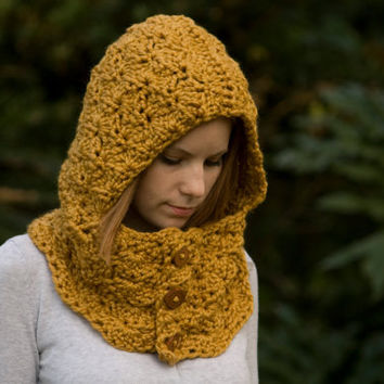 Hooded Cowl, Wood Button Crochet hooded scarf, Mustard Yellow, Marigold