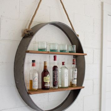 Circle Iron & Wood Hanging Wall Shelf