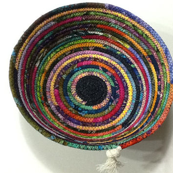 Multi Color Batik Coiled Rope bowl,  Batik Fabric Bowl, Catchall Basket,  Organizer Basket,  Quiltsy Handmade