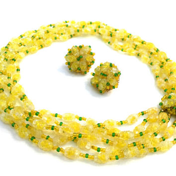 Vendome Yellow Art Glass Necklace and Earring Demi