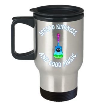 SPREAD KINDNESS AND GOOD MUSIC HIPPIE STYLE TRAVEL MUG