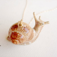 Gary - 14k Gold Filled or Sterling Silver Brown Garden Snail Slug Porcelain Necklace by Emeline Darling