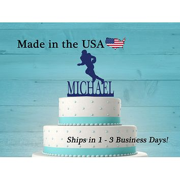 Football Player Cake Topper with Name