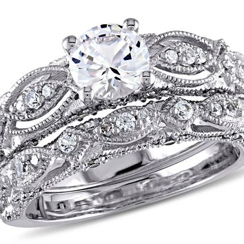 Created White Sapphire 1 3 4 Carat (ctw) with Diamond Engagement Ring Bridal ab50dfd3e
