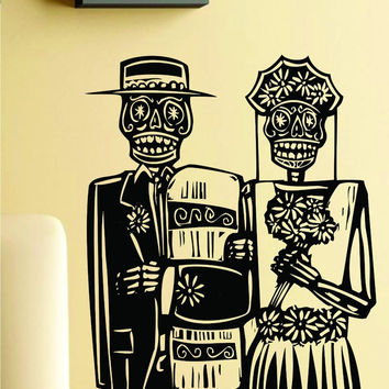 Day of the Dead Wedding Couple Wall Vinyl Decal Sticker Art