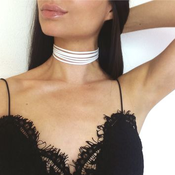 Isabella - White Faux Leather Six Strand Choker