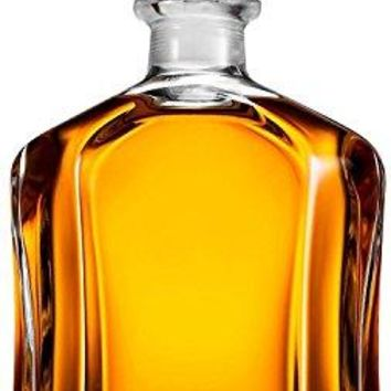 Paksh Novelty Capitol Glass Decanter with Airtight Geometric Stopper - Whiskey Decanter for Wine, Bourbon, Brandy, Liquor, Juice, Water, & Mouthwash | 23.75 oz