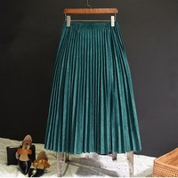 2017 New Fashin Autumn Winter Women Suede Skirt Pink White Long Pleated Skirts Womens Saias Midi Faldas Vintage Women Midi Skirt