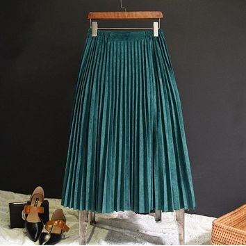 Fashion Autumn Women Suede Skirt Pink White Long Pleated Skirts Womens  Midi  Vintage Women Midi Skirt