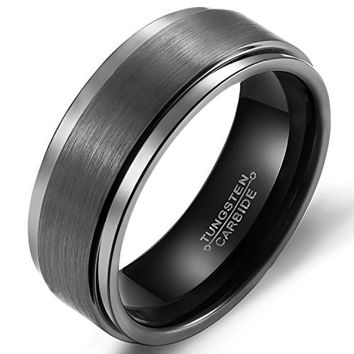 8mm Tungsten Carbide Black Wedding Band (Platinum)