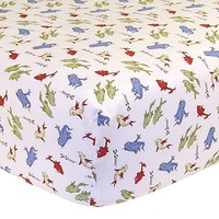 Dr. Suess One Fish Two Fish Fitted Crib Sheet by Trend Lab One Size (White)