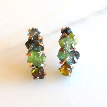 Raw Tourmaline Earrings, Raw Stone Earrings, Rose Gold Prong Set Tourmaline, Claw Set Studs, Natural Rough Green Tourmaline Post Earrings