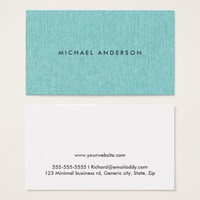 Modern, turquoise aqua blue, printed linen texture business card