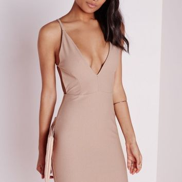 Missguided - Crepe Extreme Plunge Strappy Bodycon Dress Taupe