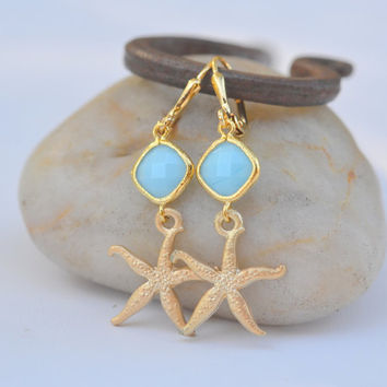 RESERVED for Laura  Gold Starfish Dangle Earrings by RusticGem