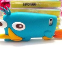 FiveBox Perry 3d Cartoon Silicone Case Platypus Silicon Cover Case for Iphone 5 5g (blue)