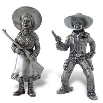 Pewter Cowpoke Couple Salt & Pepper Set