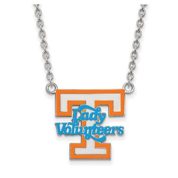 NCAA Sterling Silver U of Tennessee Large Enamel Pendant Necklace