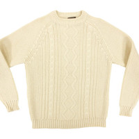 Vintage Cable Knit Sweater in Ivory - Pullover Jumper Preppy Ivy League Menswear - Men's Size Large Lrg L