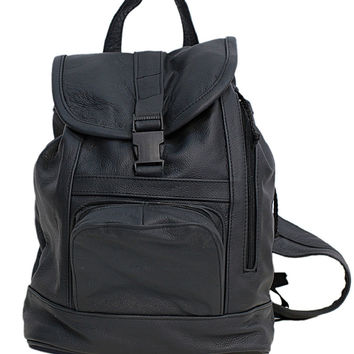 Genuine Leather Black Backpack with Convertible Strap