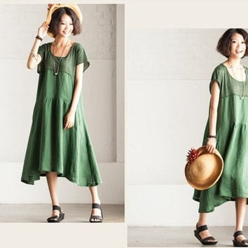 Green  Elegant cotton   summer dress cotton dress Maxi Skirt  dress loose dress short sleeve dress long  large size dresss
