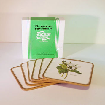Vintage Pimpernel Coasters Fayreigns, Set of 6 Coasters, Ontario's Flower the TRILLIUM