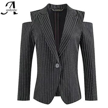 PEAPGB2 European 2016 Fashion Women Jacket Striped Black Blazer Single Button Off The Shoulder Long Sleeve Jacket Suit Slim Casual Brand