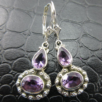 Amethyst Gemstone Sterling Silver Earrings