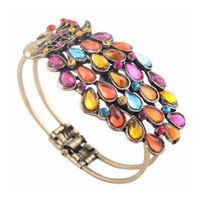 Multi Vintage Colorful Crystal Peacock Bracelet Bangle By Buyincoins