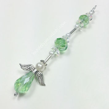 Light Green Crystal Guardian Angel Rear View Mirror Charm.  Crystal Suncatcher.  Car Angel.  New Driver Gift.