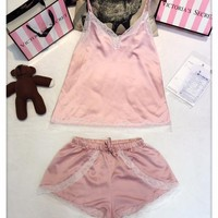Victoria's Secret Women Strap Vest Tank Top Shorts Robe Sleepwear Loungewear Set Two-Piece