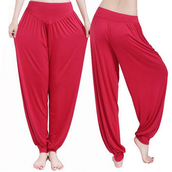 Yoga Pants Women Plus Size Colorful Bloomers Dance Yoga TaiChi Full Length Pants Smooth No Shrink Antistatic Pants
