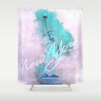 New York City - Statue of Liberty - Purple Shower Curtain by Pentagonixmedia