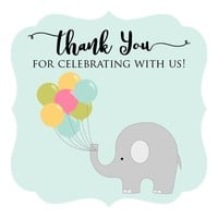 Thank You for Celebrating with Us Elephant Sticker - Birthday Baby Shower Labels in Blue - Set of 30