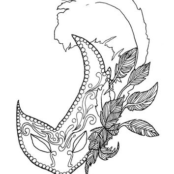 Mardi Gras Adult Coloring Book Digital Download, Downloadable Adult Coloring Pages Mardi Gras Mask Theme, Masquerade Adult Coloring Pages