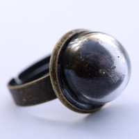 Small glass dome ring with coffee